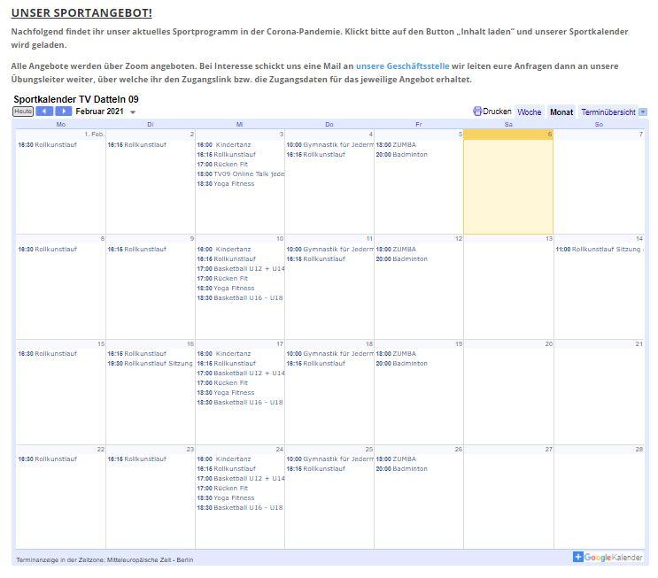 Sportkalender jetzt online